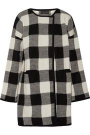Plaid alpaca and merino wool-blend coat