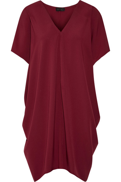 Hatch - The Slouch Draped Crepe De Chine Mini Dress - Burgundy