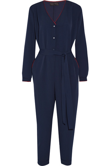 Hatch - The Emmanuelle Embroidered Crepe Jumpsuit - Midnight blue