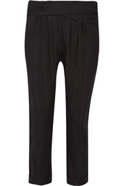 Randall draped cotton-twill tapered pants