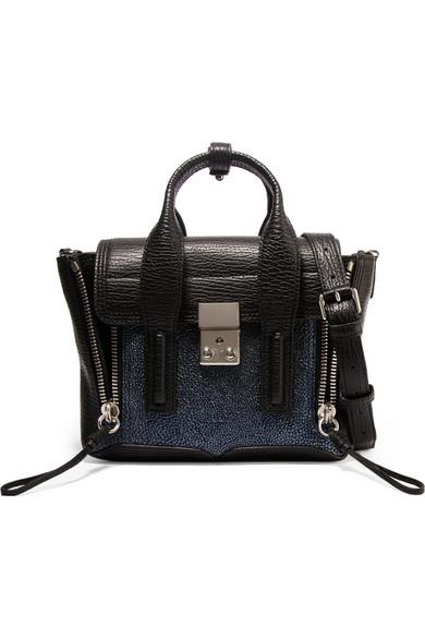 31 phillip lim female 31 phillip lim the pashli mini textured and stingrayeffect leather trapeze bag black
