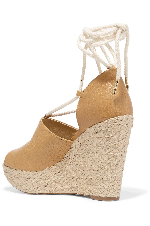 MICHAEL Michael Kors Hastings textured-leather espadrille wedge sandals