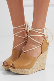 MICHAEL Michael Kors Hastings textured-leather espadrille wedge sandals