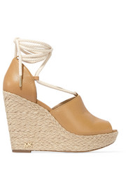 Hastings textured-leather espadrille wedge sandals