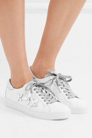 Lola appliquéd metallic leather sneakers