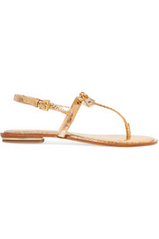 Suki embellished metallic snake-effect leather sandals