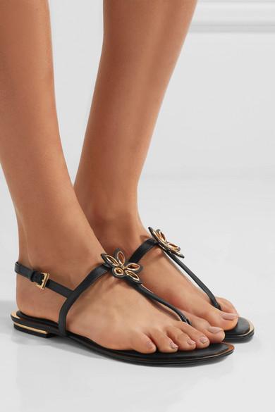 michael michael kors justine embellished leather sandals. Black Bedroom Furniture Sets. Home Design Ideas