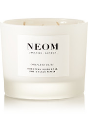 Neom Organics Complete Bliss Moroccan Blush Rose, Lime and Black Pepper scented candle, 380g