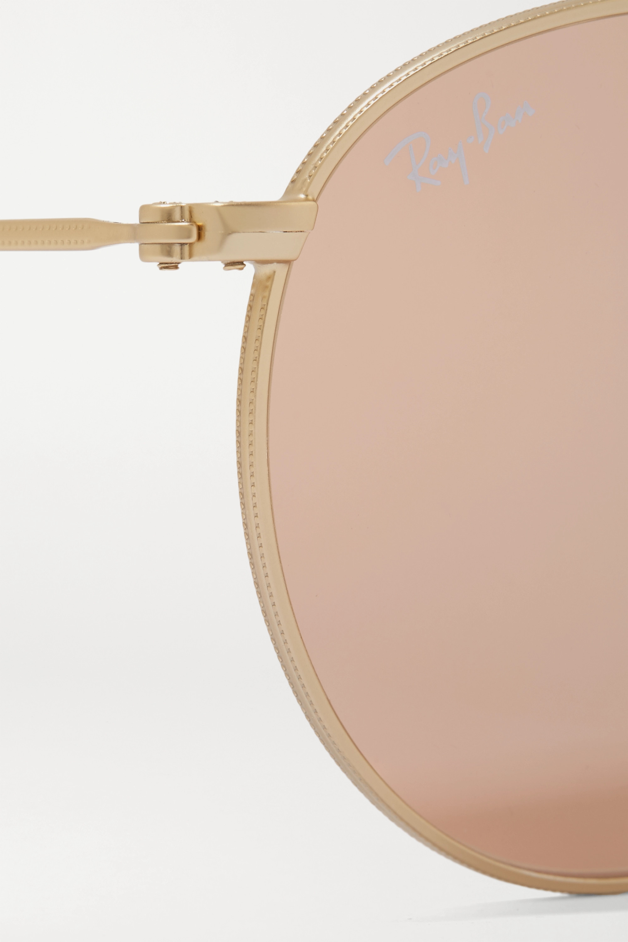 Ray-Ban Round-frame gold-tone mirrored sunglasses
