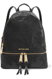 Rhea embroidered leather backpack