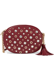 Ginny embellished textured-leather shoulder bag