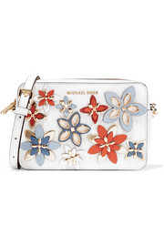 Flowers appliquéd textured-leather shoulder bag