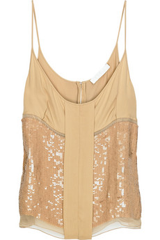Chloé Sequined silk-georgette top