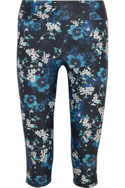 Power cropped floral-print stretch-jersey leggings