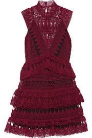 Tiered guipure lace mini dress