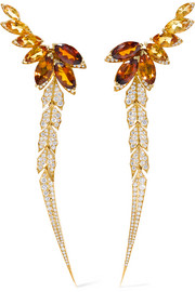 Magnipheasant Feathers 18-karat gold, citrine and diamond earrings