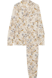 Poppy Snoozing floral-print stretch-silk crepe de chine pajama set