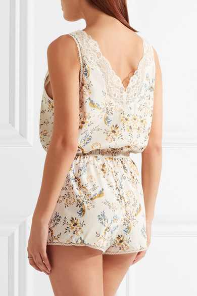 Stella McCartney. Poppy Snoozing lace-trimmed floral-print stretch-silk  crepe de chine playsuit.  149.40. Zoom In a49f4a59c