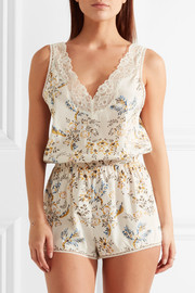 Stella McCartney Poppy Snoozing lace-trimmed floral-print stretch-silk crepe de chine playsuit