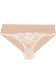 Bella Admiring lace-paneled stretch-jersey briefs