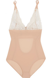 Stella McCartney Bella Admiring lace-paneled cutout stretch-jersey bodysuit