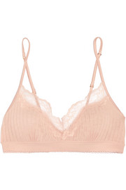 Lily Blushing lace-trimmed ribbed jersey soft-cup bra