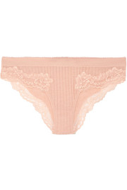 Stella McCartney Lily Blushing lace-trimmed ribbed jersey briefs
