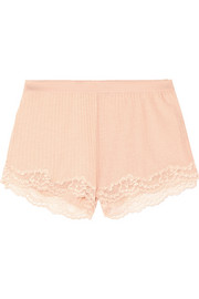 Lily Blushing lace-trimmed ribbed jersey shorts