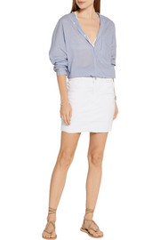 J Brand Leila distressed stretch-denim mini skirt