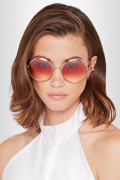 f6fce27d755e Dolce   Gabbana. Round-frame rose gold-tone sunglasses