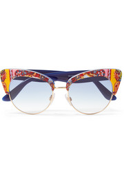 Dolce & Gabbana Cat-eye printed acetate and gold-tone sunglasses