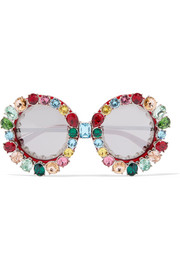 Dolce & Gabbana Crystal-embellished round-frame acetate and metal mirrored sunglasses
