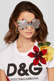 Crystal-embellished round-frame acetate and metal mirrored sunglasses