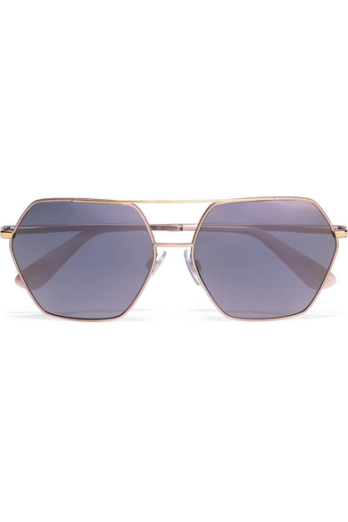 0aebf9e7826 Dolce   Gabbana. Square-frame rose gold-tone mirrored sunglasses