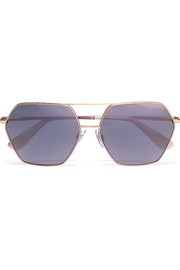 Dolce & Gabbana Square-frame rose gold-tone mirrored sunglasses