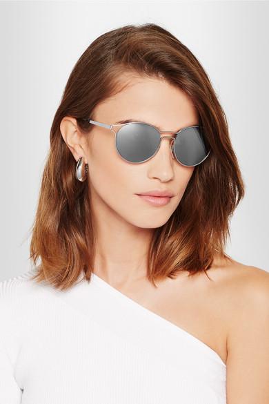 dd962ed5b4 Prada Round-frame Gold-tone Mirrored Sunglasses - Bitterroot Public ...