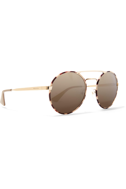 Prada Eyewear Round-frame acetate and gold-tone mirrored sunglasses