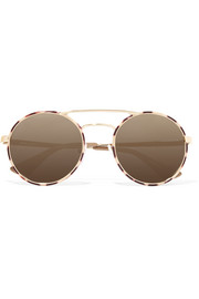 Round-frame acetate and gold-tone mirrored sunglasses