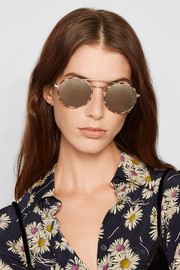 Prada Round-frame acetate and gold-tone mirrored sunglasses