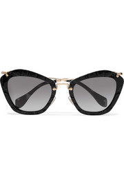 Miu Miu Cat-eye croc-effect acetate and gold-tone sunglasses