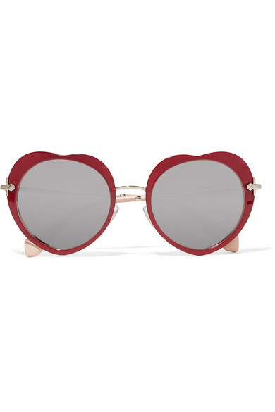 Miu Miu - Acetate And Gold-tone Mirrored Sunglasses - Claret
