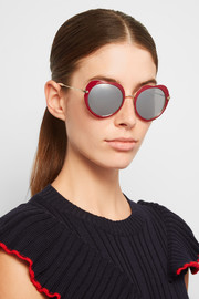 Miu Miu Acetate and gold-tone mirrored sunglasses