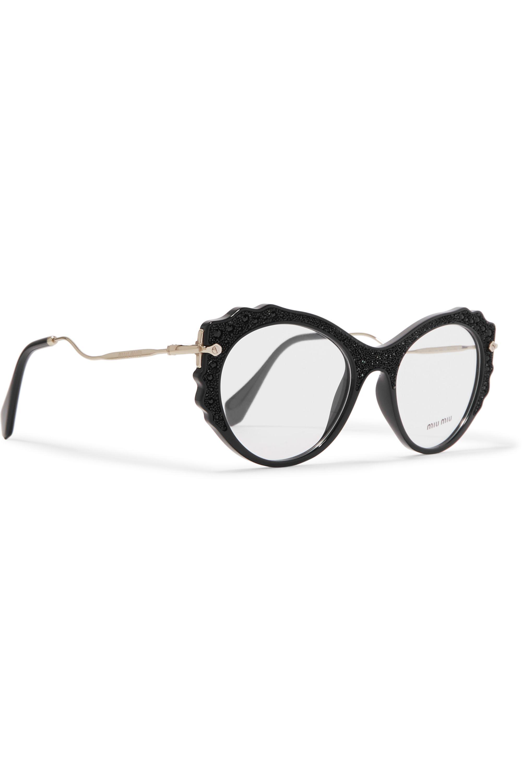 Miu Miu Cat-eye embellished acetate and gold-tone optical glasses