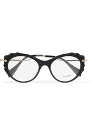 Miu Miu Cat-eye embellished acetate and gold-tone optical glasses