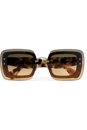 Miu Miu Square-frame glittered acetate sunglasses