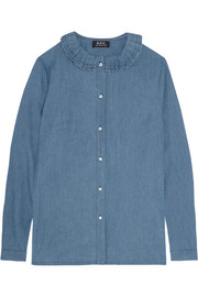 Julia pleated cotton-chambray shirt