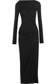 Taxa gathered stretch-jersey midi dress
