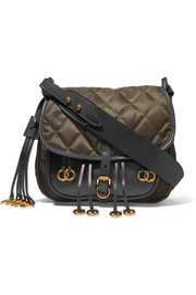 Messenger leather and quilted shell shoulder bag