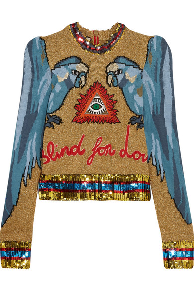 Gucci - Appliquéd Sequin-embellished Intarsia Knitted Sweater - Sky blue