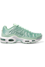 Nike Air Max Plus leather-trimmed quilted satin sneakers